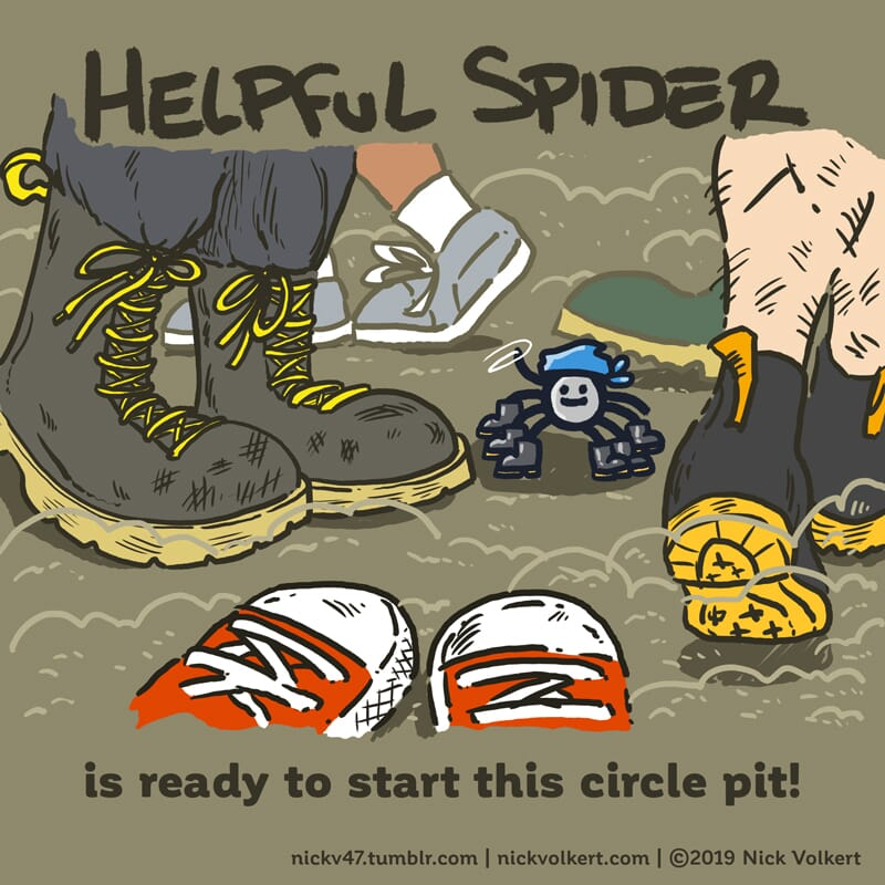 Helpful Spider is commanding a circle pit.