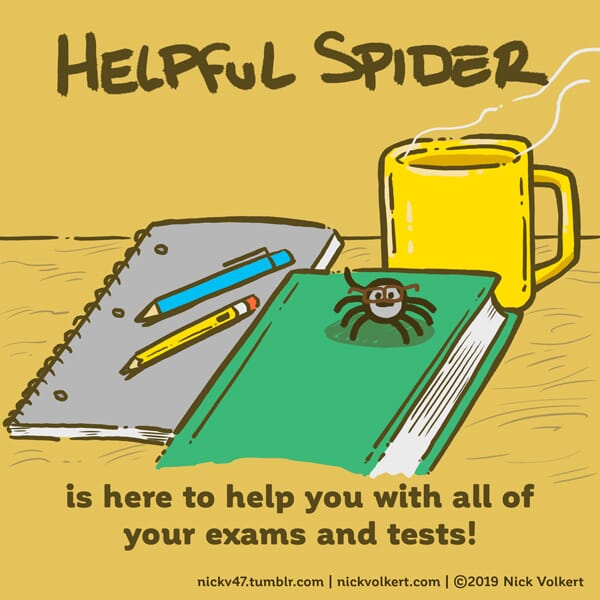 Helpful Spider is on a text book wearing glasses.