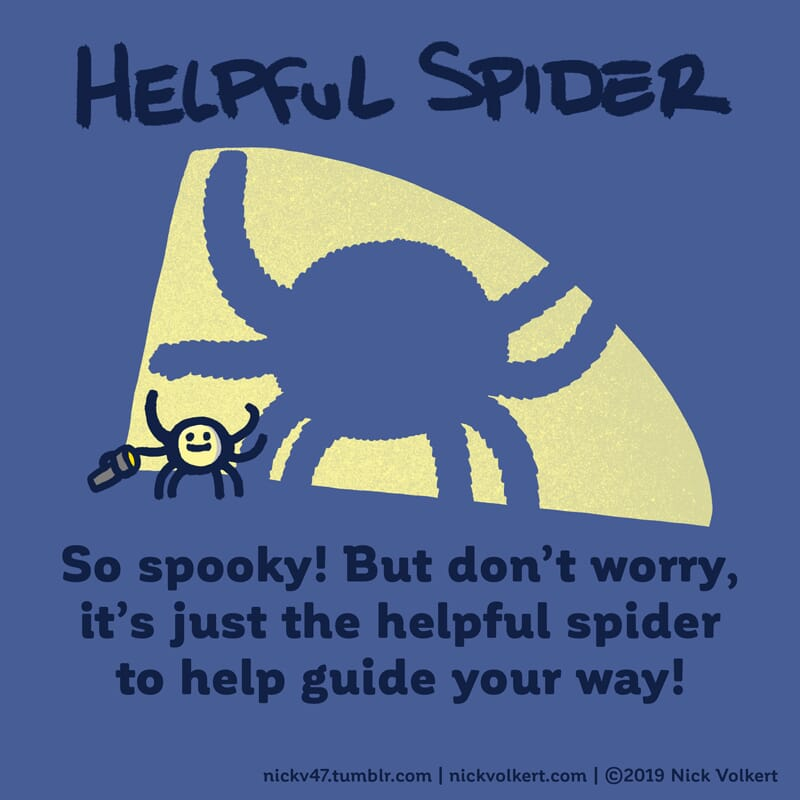 Helpful Spider is projecting his shadow with a flashlight.