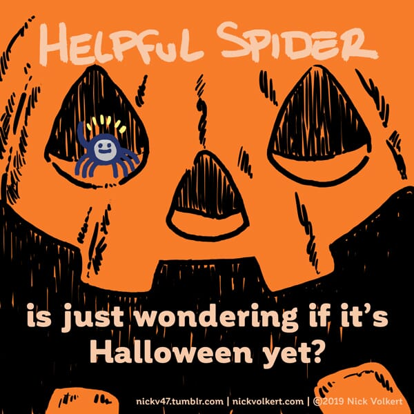 Helpful Spider is standing in a jack o lantern.