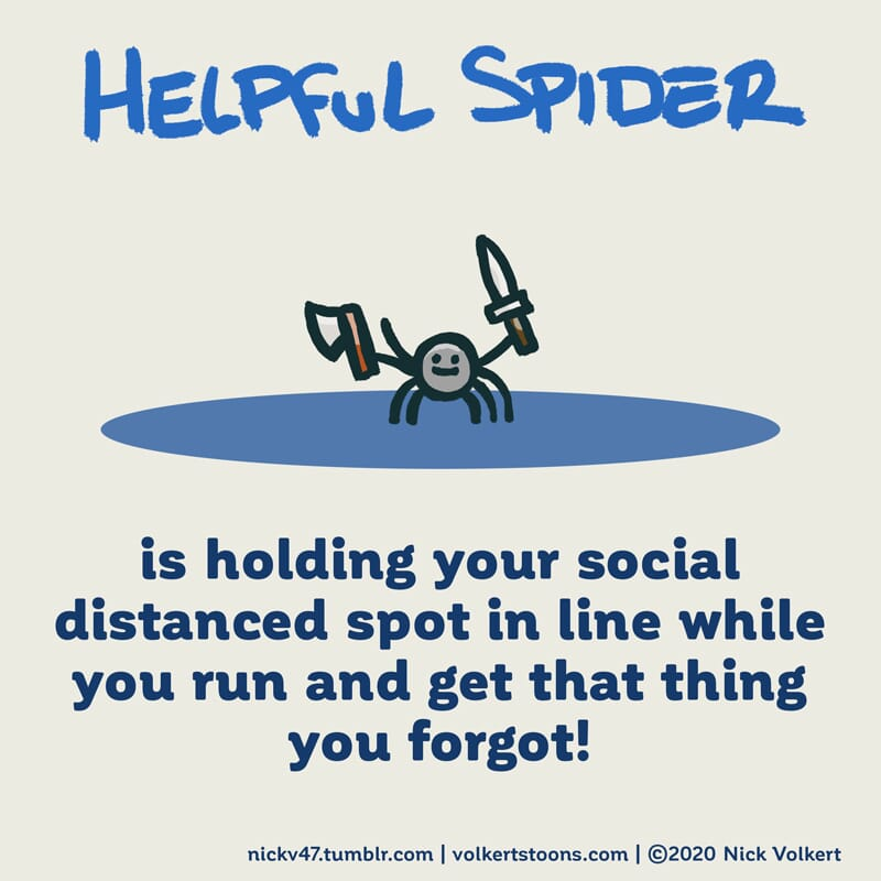 Helpful Spider is holding a spot in line while shopping during Covid.