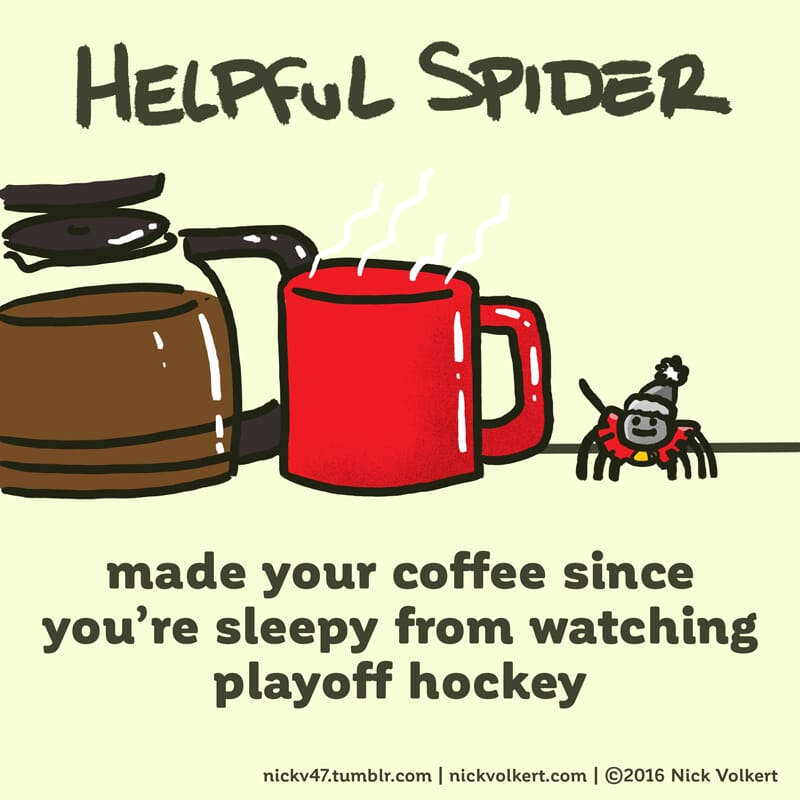 Helpful Spider brews coffee while wearing the jersey of his favorite Chicago team.