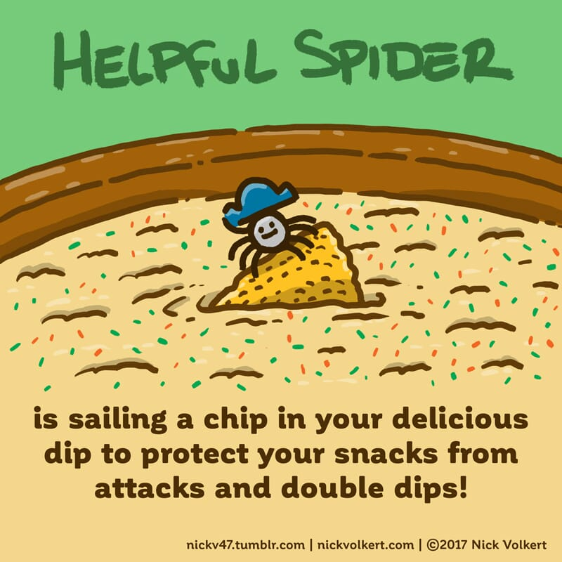 Helpful Spider is riding a chip in some dip.