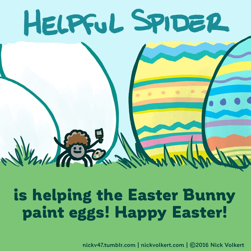 Helpful Spider is holding a brush and painting Easter Eggs.