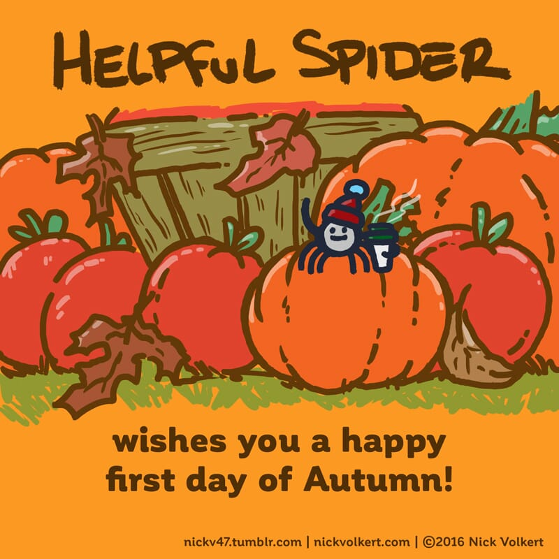 Helpful Spider is on a pumpkin with a coffee!