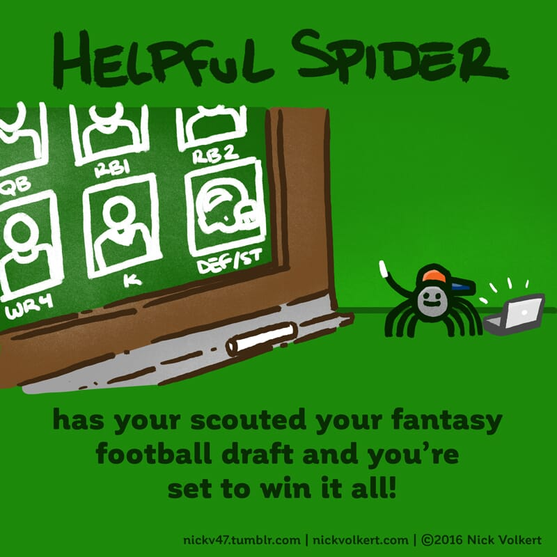 Helpful Spider has his hat on backwards and is scouting your fantasy prospects!