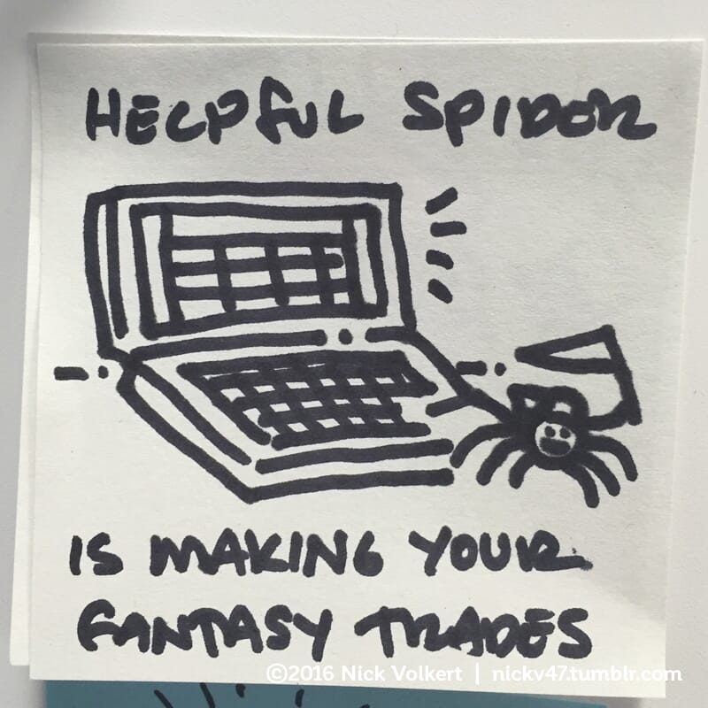 Helpful Spider is in front of a laptop making fantasy football trades.