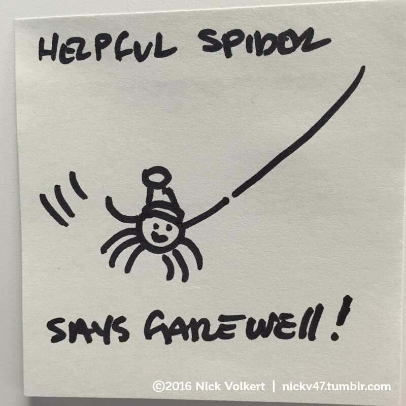 Helpful Spider is swinging on a rope and waving goodbye.