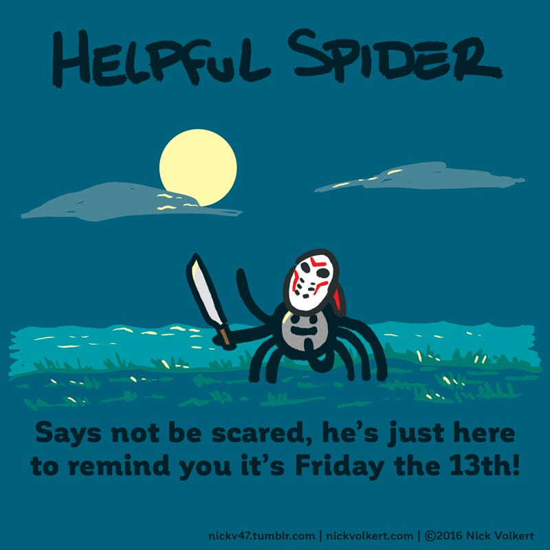 Helpful Spider is dressed in a hockey mask in a spooky setting!