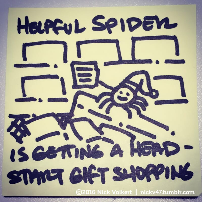 Helpful Spider is on a cart full of items holding his shopping list.