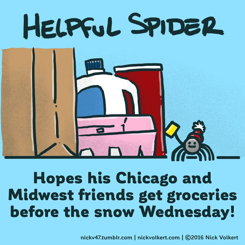 Helpful Spider is in front of some assorted groceries with a list.