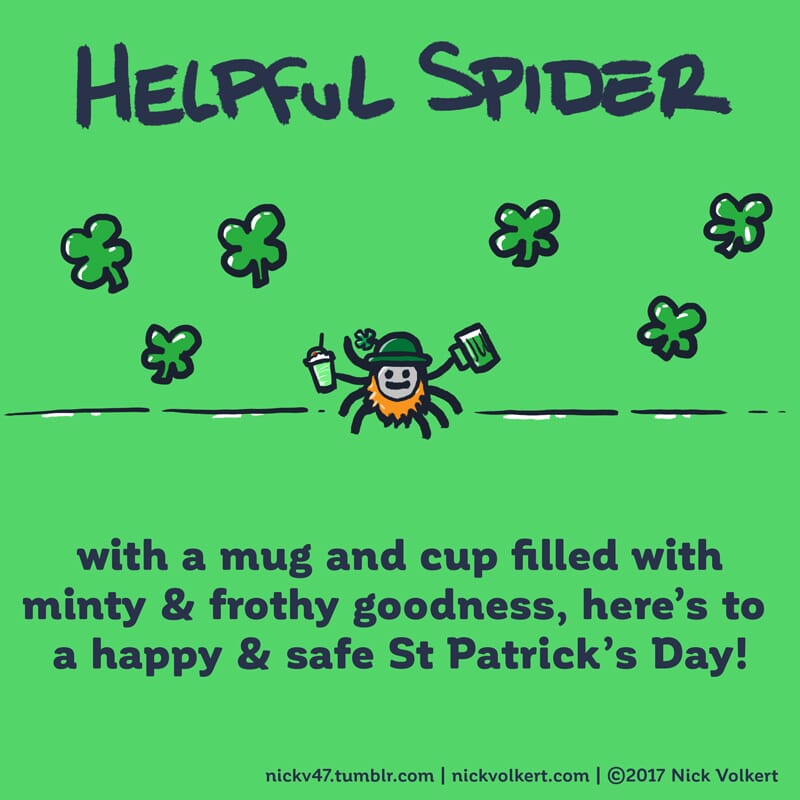 Helpful Spider is holding a green shake and beer.