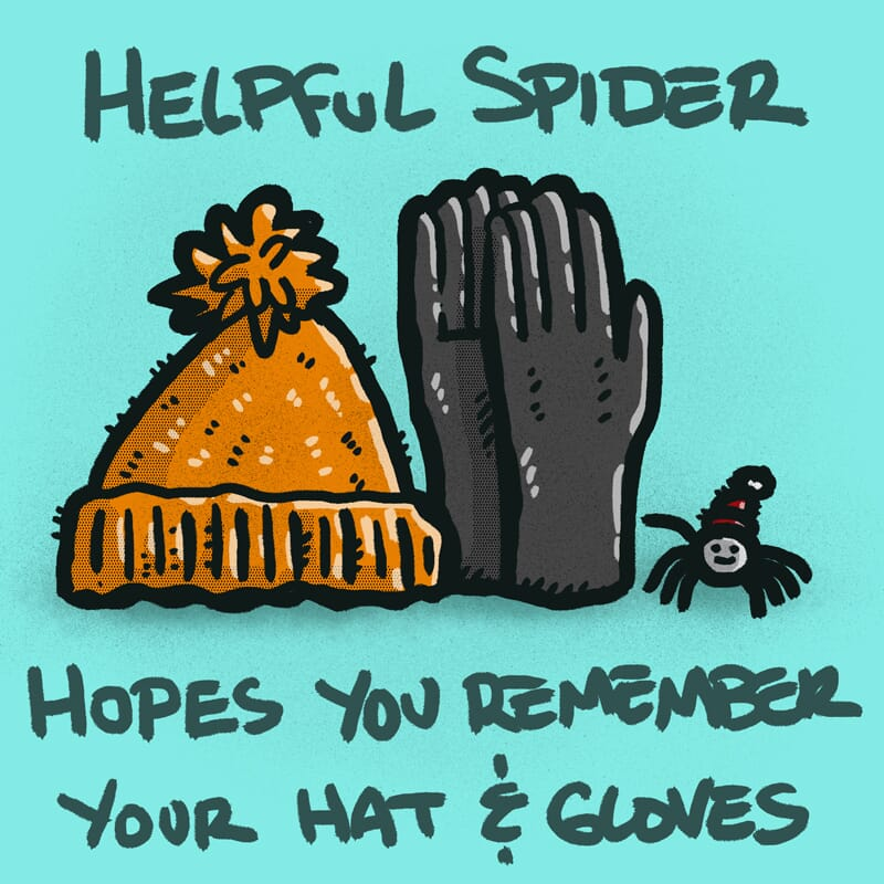 Helpful Spider is pointing to a pair gloves and stocking cap.