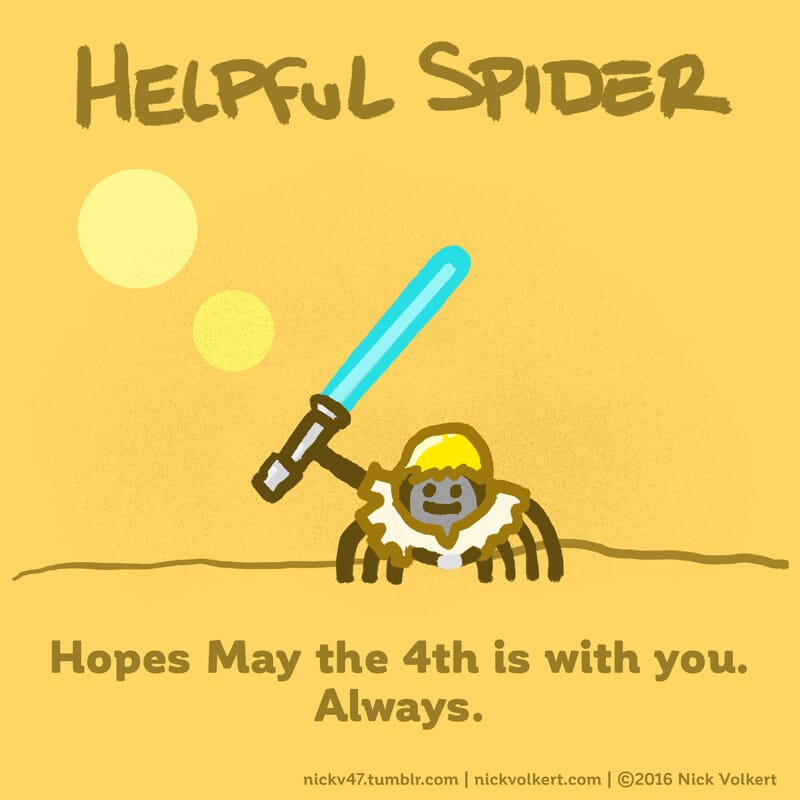 Helpful Spider is dressed as Luke Skywalker for May the 4th.
