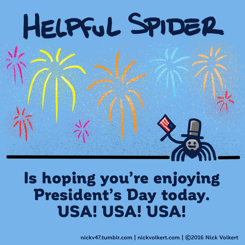 Helpful Spider is dressed as Abe Lincoln waving a flag for Presidents Day.