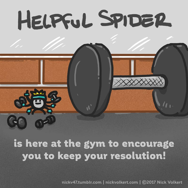 Helpful Spider is pumping some iron.