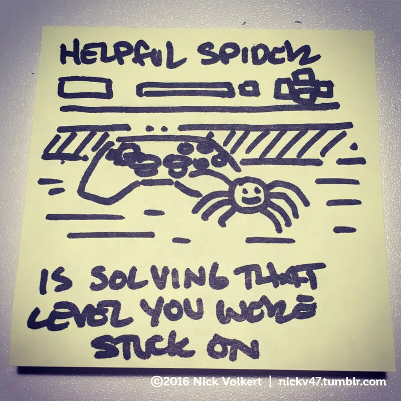 Helpful Spider is solving a video game.