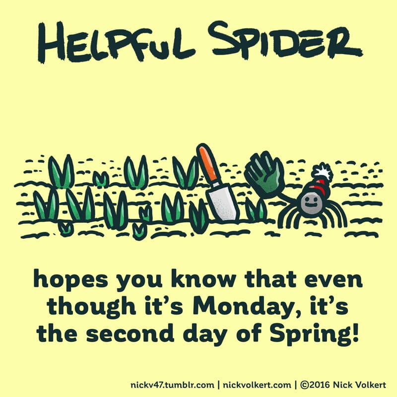 Helpful Spider waving with a big green glove while tending to a tulip garden.