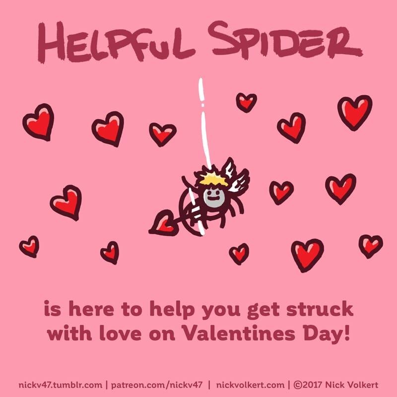 Helpful Spider is dressed as a cherub.