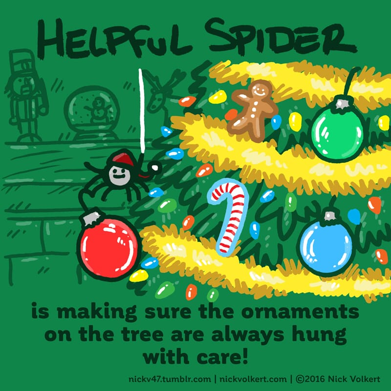Helpful Spider is decorating a Christmas tree.