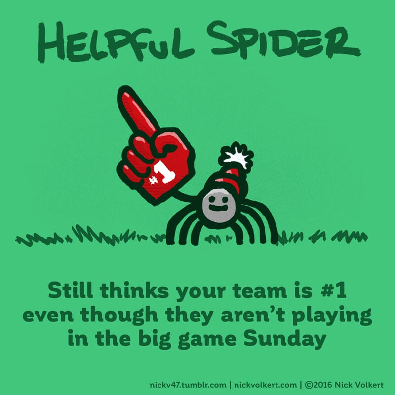 Helpful Spider is rooting for your team with a big foam finger.