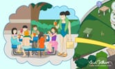Detail of mom and kids having lunch from Mystic Waters map
