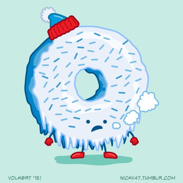A sprinkle donut with hat, gloves and boots is frozen solid.