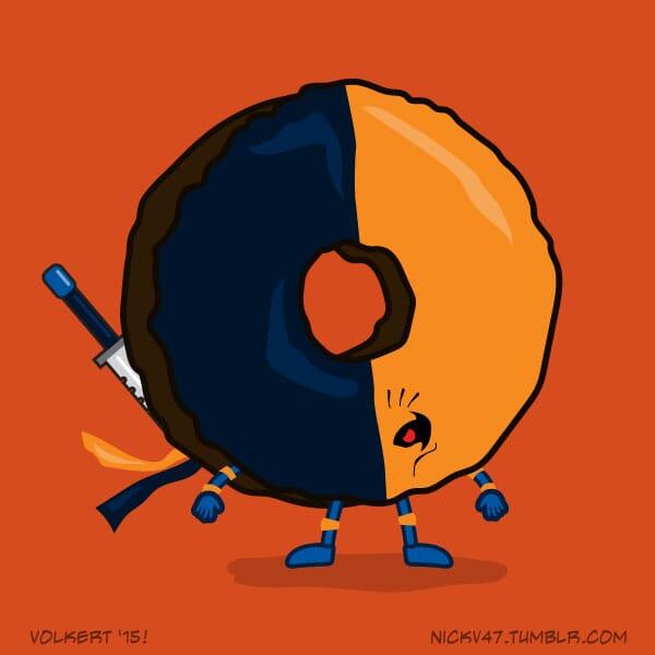 A mercenary donut that is half navy and orange.