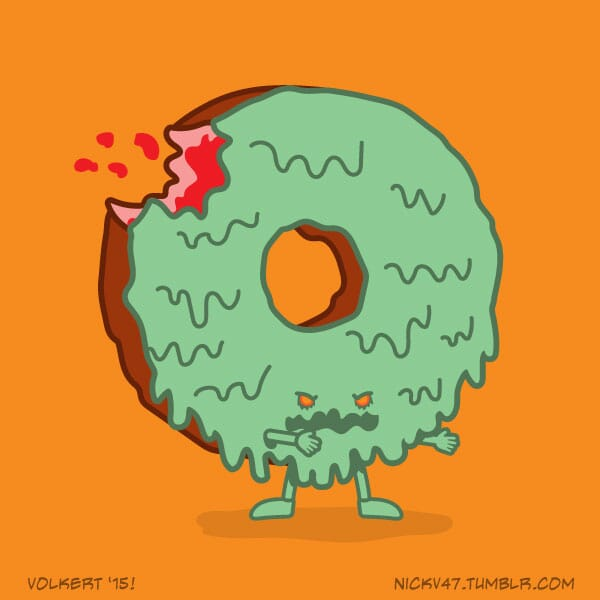 A melting donut has turned green and into a zombie.
