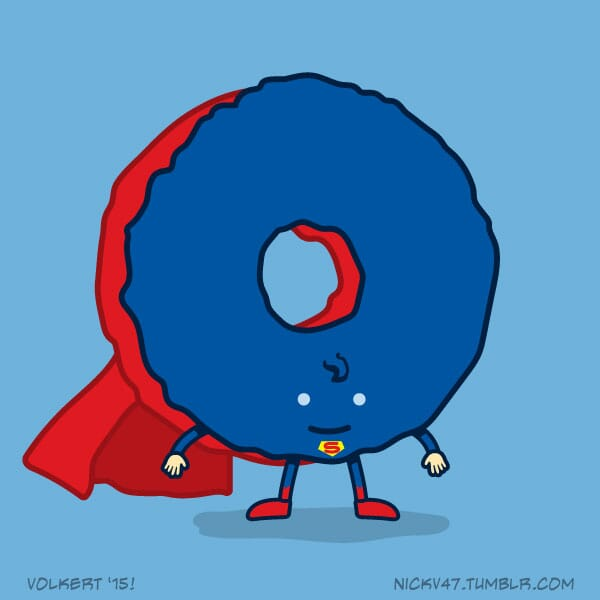 A donut dressed as a DC caped hero.