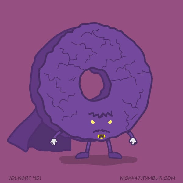 A donut dressed as a bizarre version of a DC caped hero.