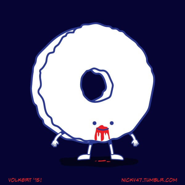 A donut that is dressed as rocker Andrew WK.