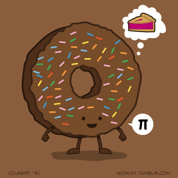 A donut celebrating Pi day while thinking of a pie.