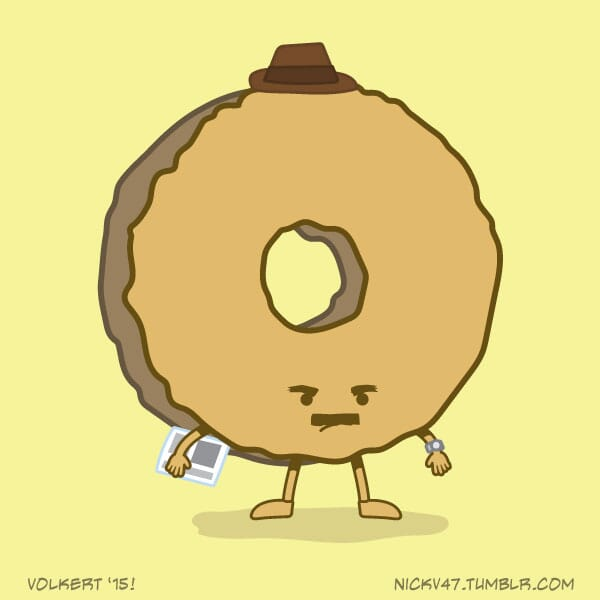 A donut dressed as a dad, not looking very happy.