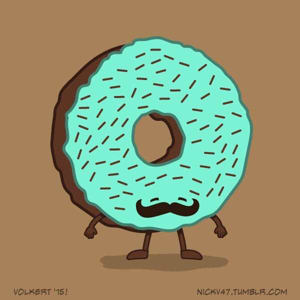 A donut with a big curly mustache.