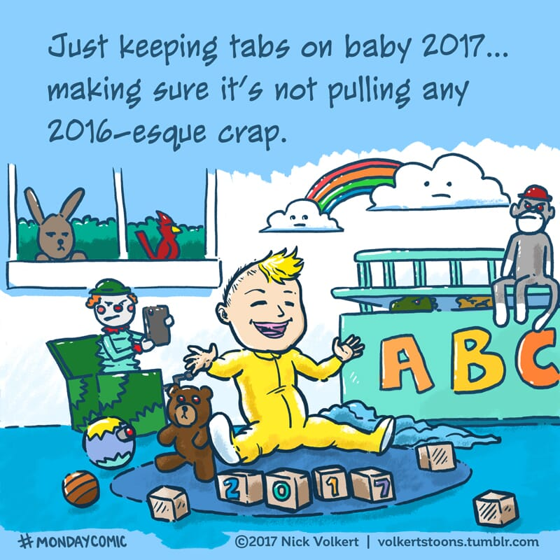 A newborn baby New Year in a playroom being monitored by his toys because of how terrible 2016 was.