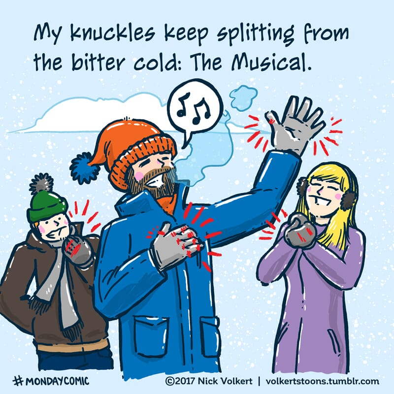 A man with a beard and stocking cap sings to friends about his knuckles splitting from the cold.
