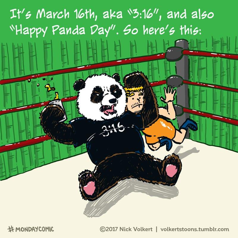 A panda gives the stunner to a random dude.
