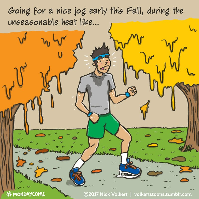 A man is struggling during a jog during the Fall.