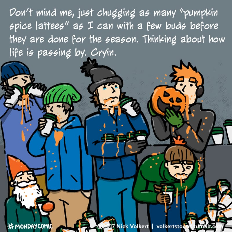 A group people overconsume pumpkin spice.