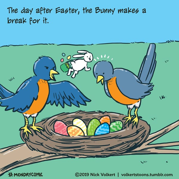 The Easter Bunny makes a break for it after a discover in a robin's nest.