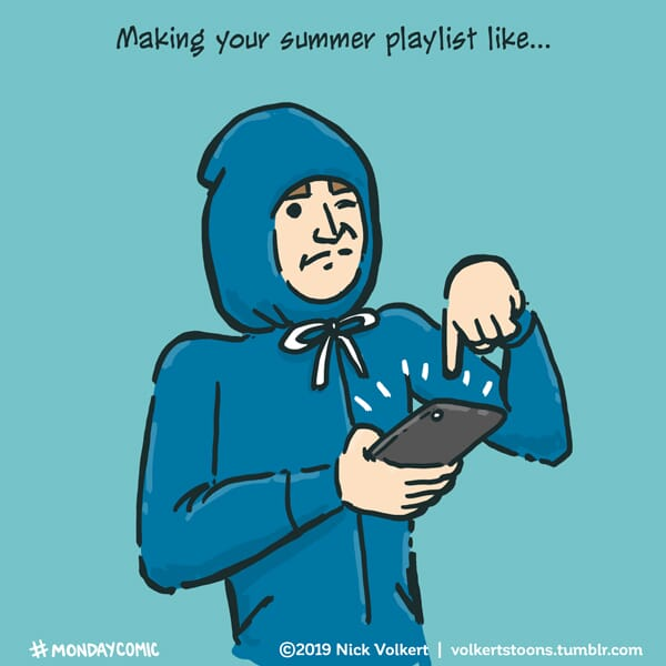 A man with his hoodie strings draw works on his playlist.