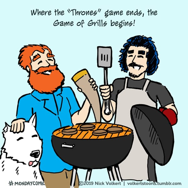 Characters from Game of Thrones enjoy a summer grilling.