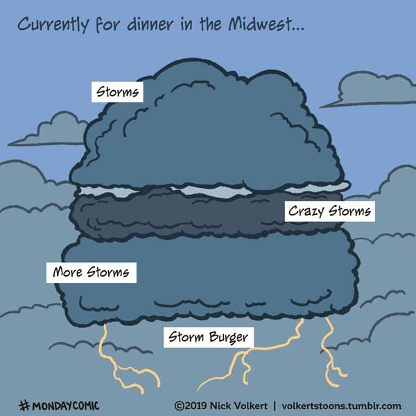 A storm cloud shaped like a burger.