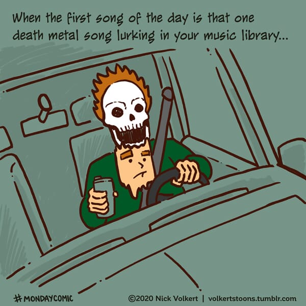 A man's face melts off from the metal music in his car.