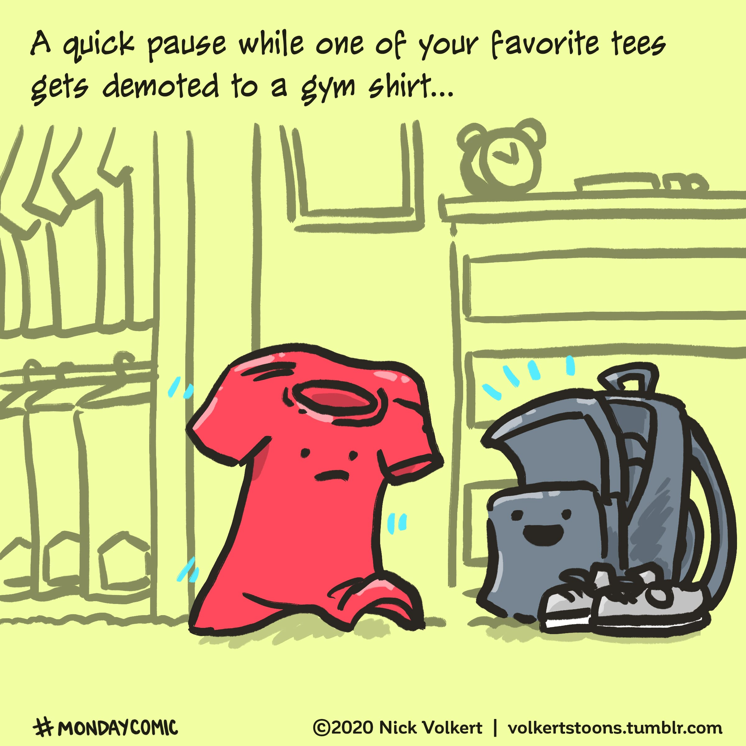 A tee shirt marches to a gym bag.