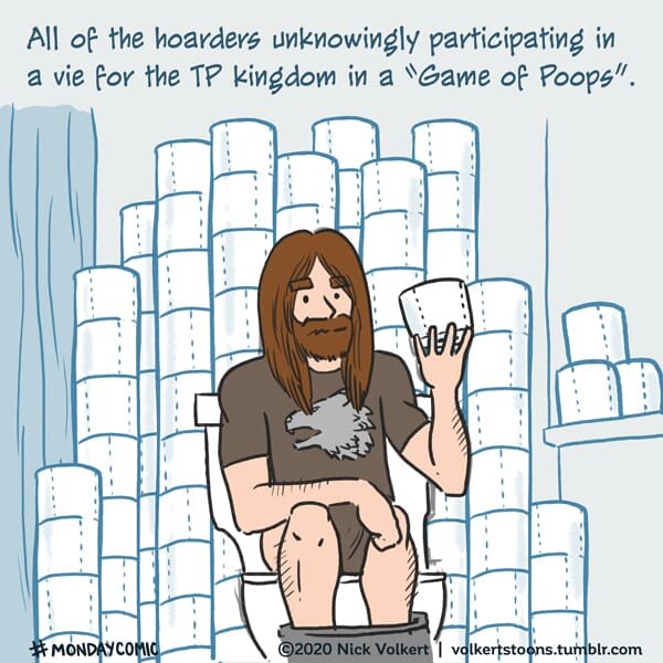 A man sits on the throne surrounded by loads of toilet paper.