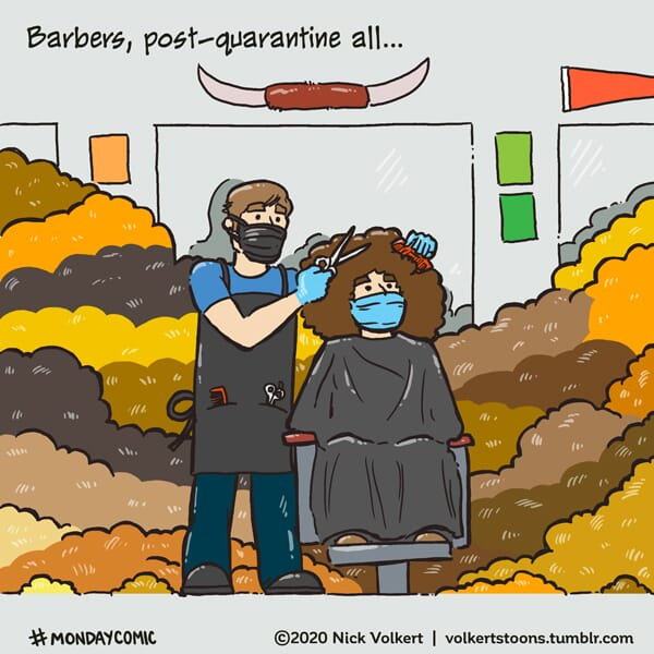 A barber is surrounded by mounds of hair.
