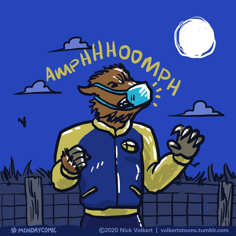 A werewolf howls at the moon while wearing a mask.