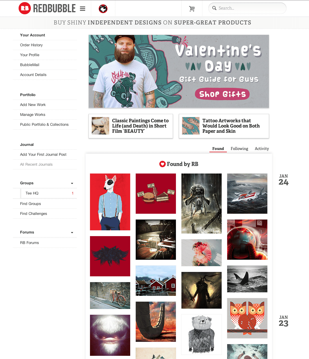 Crowberus illustration featured on the redbubble.com home page